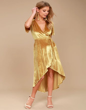 Women's Elegance Stretch Gold Yellow Velvet High-Low Skinny Strap Sexy Deep V-Neck Floor Length Wrap Maxi Dress