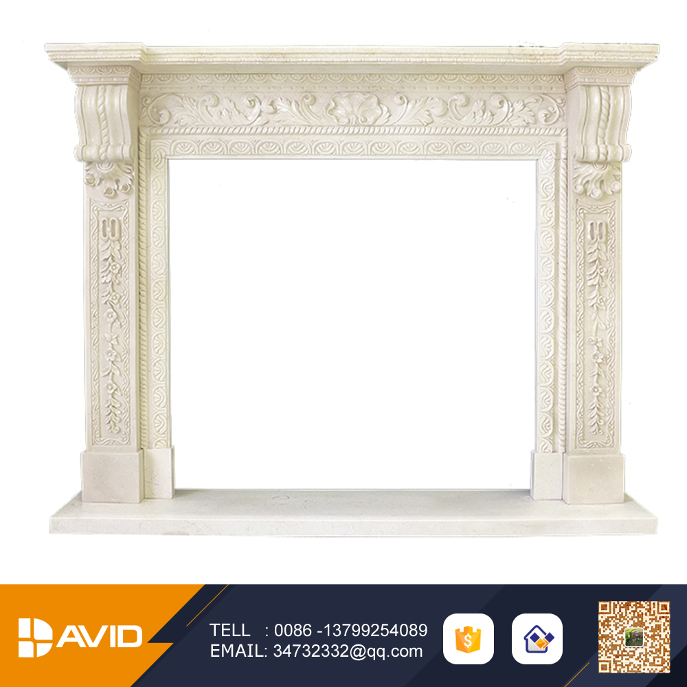 Best material european style beige color marble fireplace