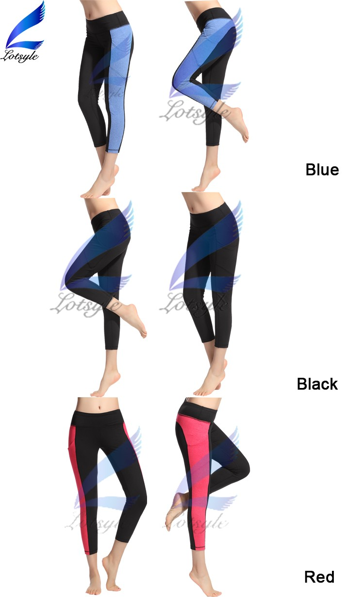 Ladies Capri Trousers Workout Running Yoga Pants for Women with Pockets