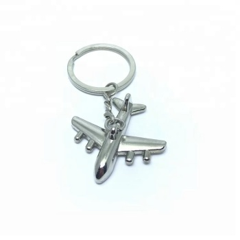 Custom metal 3D aircraft Keychain nickel plating little airplane keyring