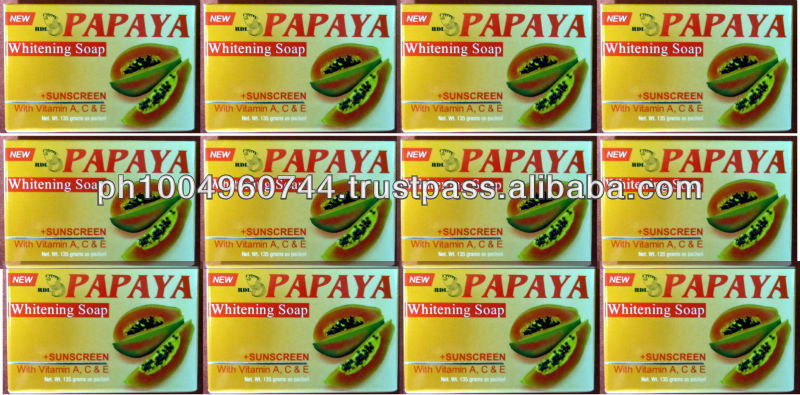 12 RDL Papaya Whitening Soap with Sunscreen and Vitamins 135g ea