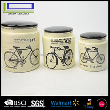 2017home storage jar kitchen bike series decals ceramic food container