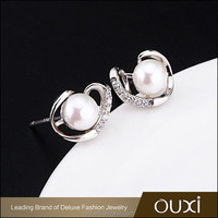 OUXI 2016 New design Top quality Silver fancy pearl earrings designs for party girl Y20461