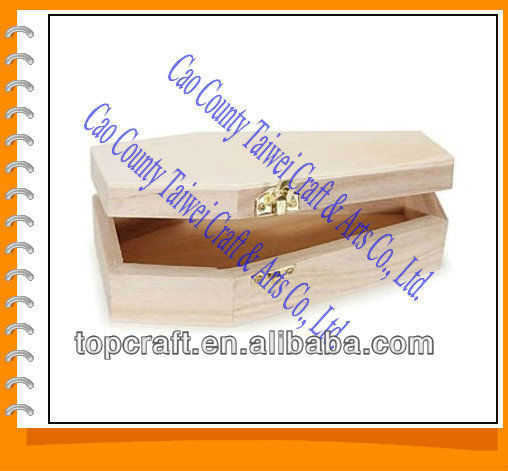 "Unfinished Pine Wood 6"" COFFIN CASKET BOX with Hinged Lid & Clasp Closure"
