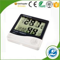 indoor/outdoor wireless thermometer 3 inch small led digital clock thermometer and clock