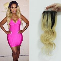 Peruvian Ombre Body Wave Closure 7A Human Hair Brazilian Closure With Bleached Knots Baby Hair