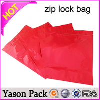 Yason red glossy zip lock bag for glucose ziplock jewelry bags free wholesale spice potpourri aluminum foil ziplock bag