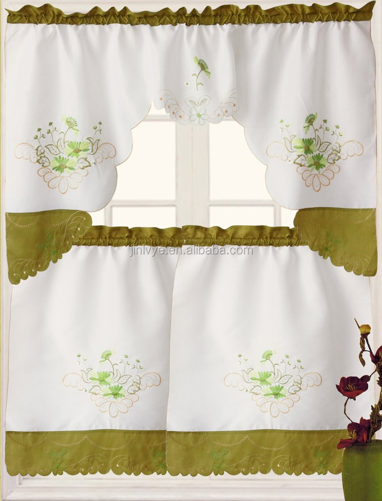 Trade assurance wholesale embroidery ready made kitchen curtain