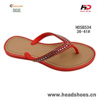 Cheap wholesale ladies PVC beaded rhinestone plastic flip flops sandals