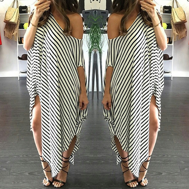Women Loose Round Neck Bat-wing Sleeve Black and White Striped Dress Irregular Dress