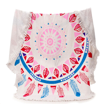 100% cotton printed round beach towel with tassel fringe
