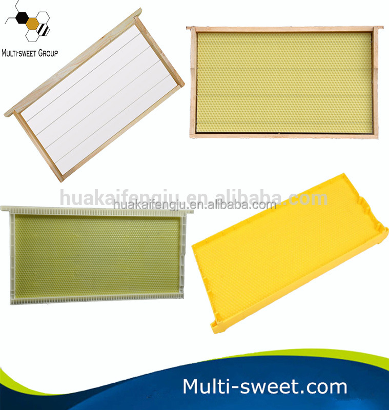 Bulk plastic honey frame wooden beehive frames with beeswax foundation