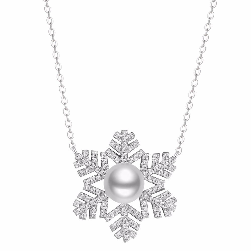 925 Sterling Silver Winter Peal Necklace Cubic Zirconia Crystal Snowflake Necklace White Gold Plated Link Wedding Jewelry