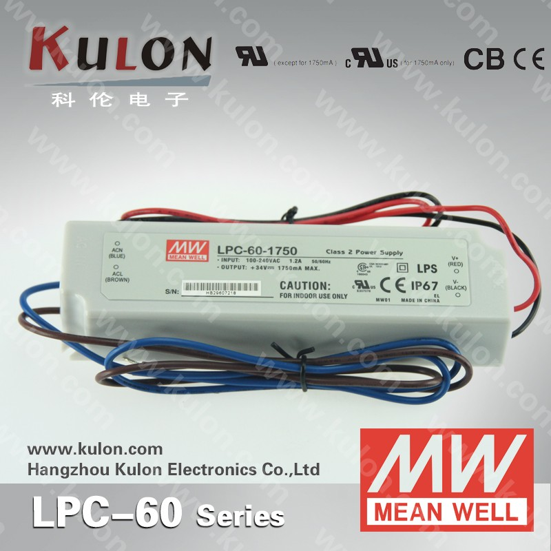 Meanwell LPC-60-1750 constant current waterproof electronic dimmable led driver