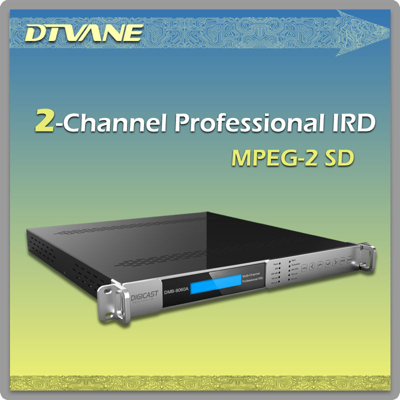 DMB-9060A 2 channel professional IPTV IRD H.264 decoding 2 CI slots DVB -S / S2 / T / T2 / C tuner + IP + ASI in
