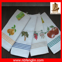 Wholesale white cotton waffle kitchen tea towel made in china