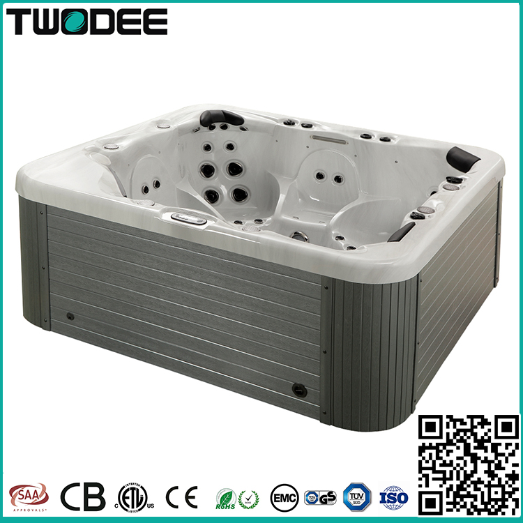 Luxury acrylic rectangle 6 persons whirlpool massage balboa system outdoor spa hot tub