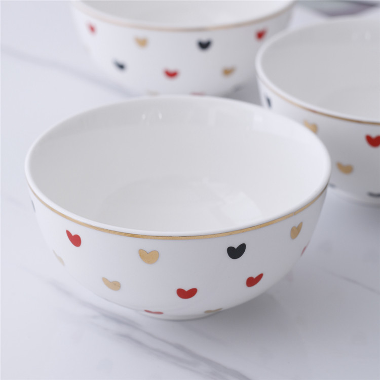 New arrival decoration gold rim non toxic decal fine cereal bowls porcelain rice bowl
