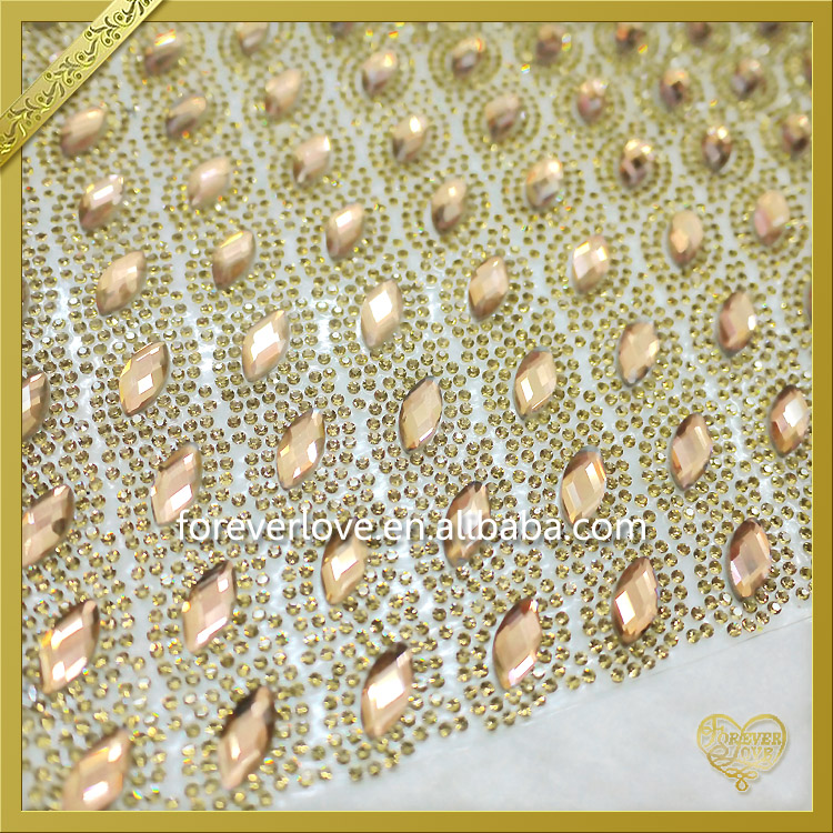 2016 Hotfix Gold Rhinestones Sheet Sticker Wholesale FRM-122