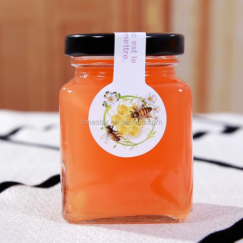 Hot selling product 100ml 200ml 380ml High quality sealed hexagonal glass jam jar with screw cap