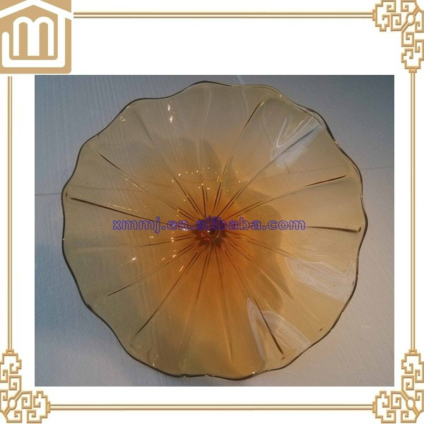 Handmade blown round flat Translucent wall decoration display murano glass plate