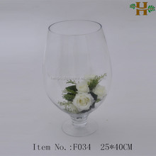 Footed Clear Glass Vases For Flower Arrangements For Wedding Decoration