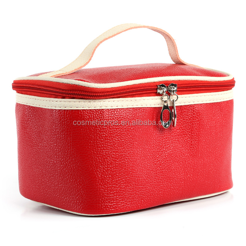 litchi stria leather case PU handbag Cosmetic Bags Promotional Make Up Bag Travel Toiletry Bag Pouch