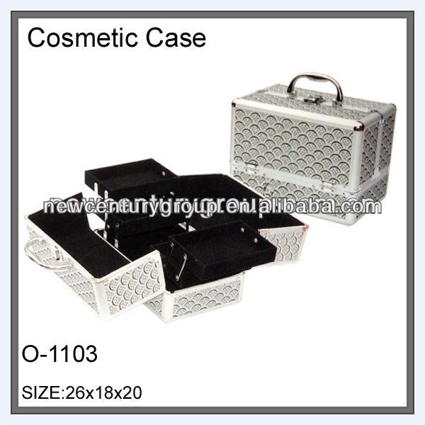 3 layers MDF aluminum cosmetic train makeup beauty case box