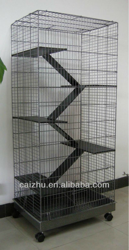 5 Levels Wooden Ladder Big Metal Ferret Chinchilla Hamster Pet Cages