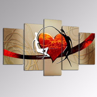 Love Heart Canvas Painting Wall Decor/Abstract Oil Painting/Modern Canvas Artwork