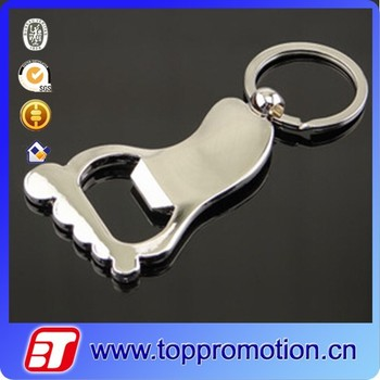 Foot shape bottle opener with metal keychain