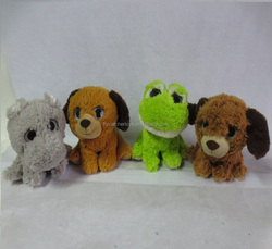 Direct deal High Quality plush toy with big sparkle eyes wild animals,plush elephant,dog,frog toys
