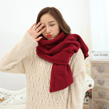 210*35cm girls winter warm large loom double acrylic plain chunky knit scarf