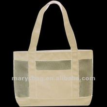 600D polyester and nylon mesh shopping bag with side snap pockets