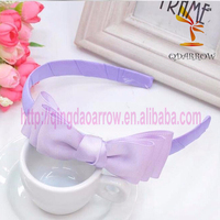 Plastic ribbon kid promotional headbands with bow