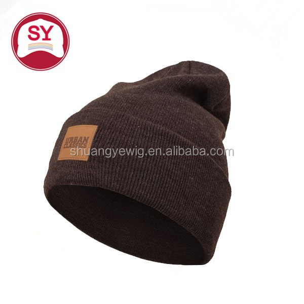wholesale custom leather patch slouchy beanie