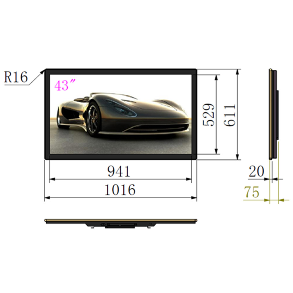 Ultra thin win <strong>7</strong> pc all in one advertising digital signage lcd display