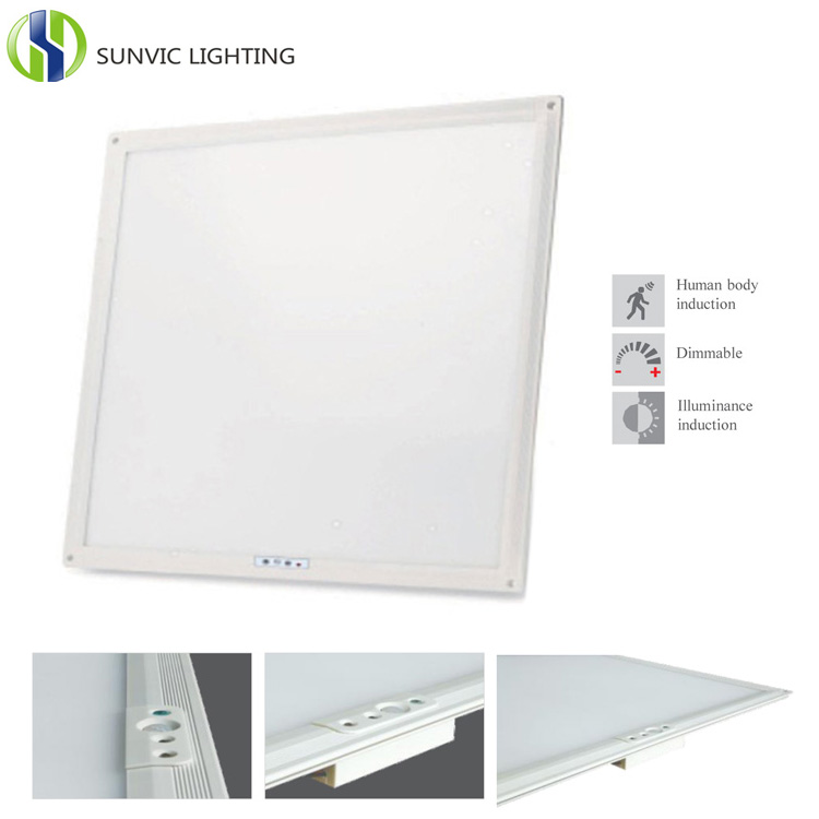 Smart 8cm ultra slim 40w led 600x600 ceiling panel light with motion and daylight sensor