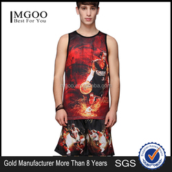 High Quality Cotton Spandex Mens Reversible Basketball Jersey With stretchable Casual Sport Wear