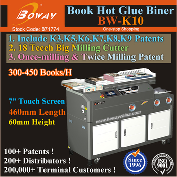 BOWAY K10 Once-Twice Milling Dual Mode 460mm Length 60mm Height Hot Melt Gule Perfect Book Binding Machine