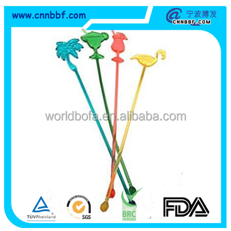 Assorted Tropical Drink Stir Swizzle Sticks Bar - Palm Tree, Margarita, Frozen Drink Cocktail, Flamingo