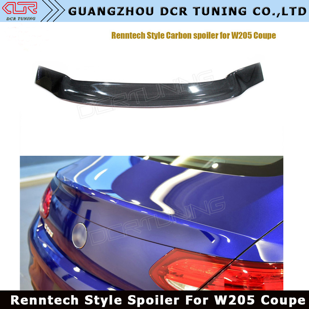 Renntech Style Real Carbon Fiber Spoiler For Mercedes Benz C Class W205 Coupe 2 Door Roof Spoiler