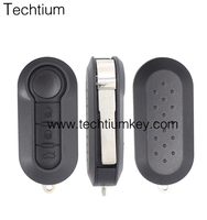 High quality 2 button car modified folding flip remote key shell case with without logo for Fiat 500