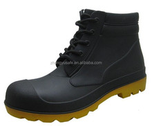 Lace up PVC safety gumboots,cheap safety rain boots,hot-selling yellow out sole gumboots wholesale