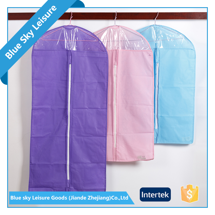 Colorful PP Non-woven Fabric Foldable Portable Suit Hanging Garment Bag
