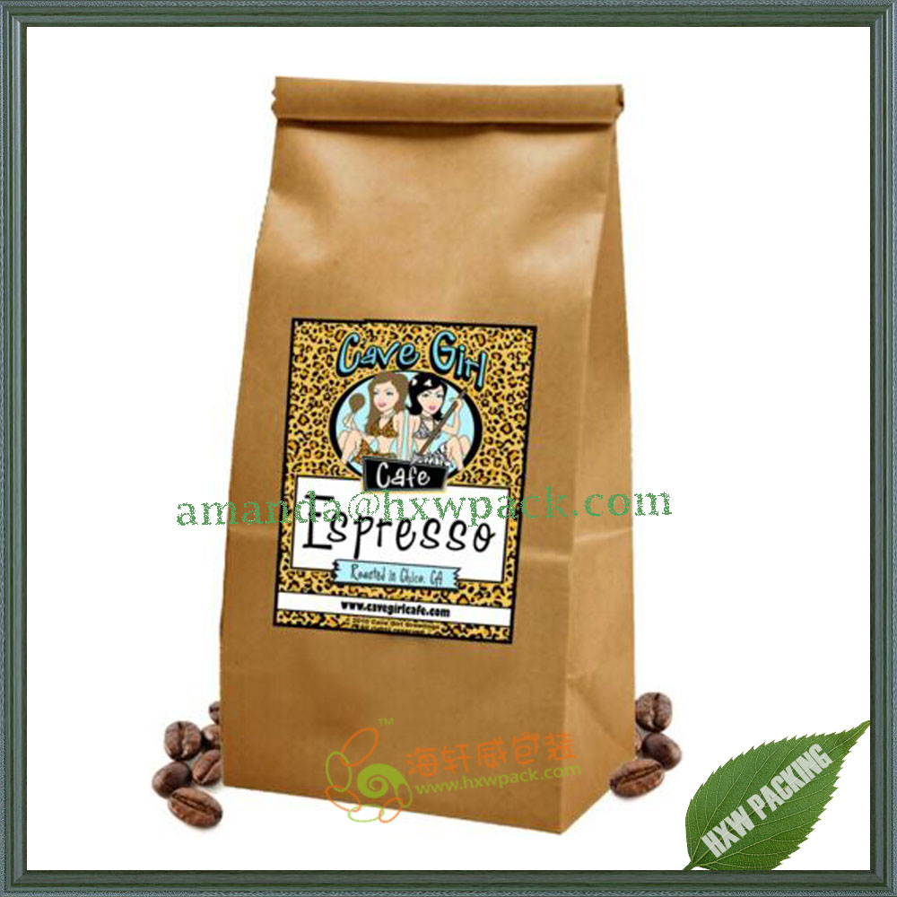 Kraft Paper Tin Tie Foil Lined Coffee Bag/Kraft 250g 500g Coffee Bag with Valve&Tin Tie