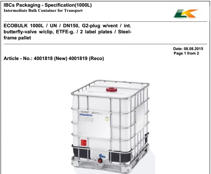 1000L chemicals Containers