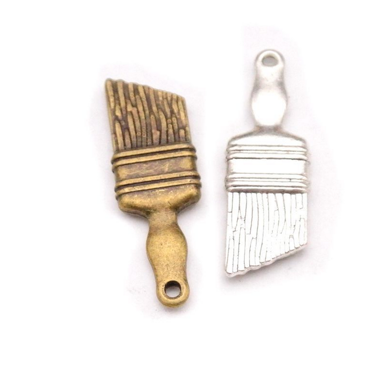 factory manufacturer zinc alloy charms fashion hot sale cheap Paint Brush charms Tool jewelry