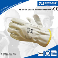 RS SAFETY white color open cuff wing thumb safety cow skin leather working gloves