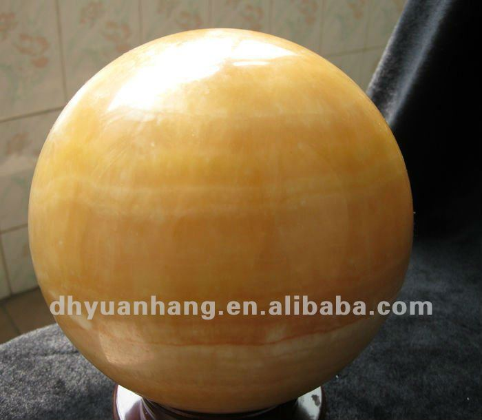 100mm Natural charming clear yellow jade stone carved ball/quartz crystal ball for sale